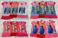 Wholesale 2014 Hot Sale summer girls dresses Frozen Princess patterns children nightdress Cartoon Cotton kids pajamas dress sleepwear A001