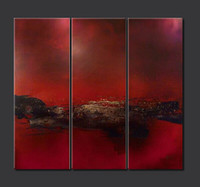 Верхнее качество и 100% покрашенная Классический темно-красный абстрактный пейзаж Картина на холсте для дома / бизнеса украшения 3шт
