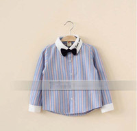 Wholesale NEW Gentleman Kids Children Boy s Clothing Oxford Long Sleeve Bowtie Shirts Shirt Stripes Cotton Blue Red Boys Clothes K0533