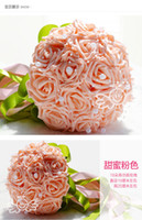 Wholesale Cheap Beautiful Artificial Roses Flowers Pearls Wedding Bouquet Colorfule White Perfect Wedding Favors Bridal Hand Holding Flowers DL1313068