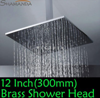 Disposable Bathroom Faucet Accessories Yes Free Shipping Bathroom Big 12 Inch Solid Brass Chrome Rainrall Shower Head With Size Square 300x300mm Overhead Top Shower-20229