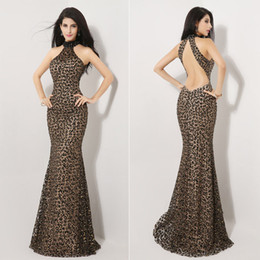 Wholesale 2015 Sexy Mermaid Evening Dresses Backless Leopard Print Halter Formal Prom Dress Mother of the Bride Dress Gowns Pageant Queen Dress Cheap