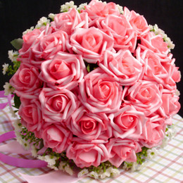 Wholesale Cheap Beautiful Artificial Roses Flowers Wedding Bouquet Hot Pink Perfect Wedding Favors Bridal Hand Holding Flowers DL1313070