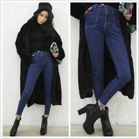 Women Long Straight 2014fall Korean version of Hitz stylenanda big pocket design was thin and comfortable ladies jeans 7129 #