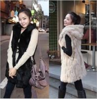 Wholesale Hot Sale Imitation Rabbit Fur Long paragraph Vest Hooded Wool Vest Plus Size Outerwear