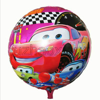 Wholesale Hot CM Cars Cartoon Hydrogen Balloon inch Round Aluminum Foil Helium Balloons Party Decoration Inflatable toys Kids Classic Toys