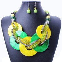 Wholesale European and American fashion exaggerated Bohemian handmade shell beads necklace and earrings jewelry set MD592