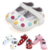 Wholesale Girl Genuine leather shoes Booties sandals baby kids color dots cow leather shoes baby genuine leather shoes with Pigskin lining years