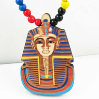 Wholesale Pharaoh of Egypt Good Wood Hip Hop Hand painted Wooden Necklace Rosary Jewery