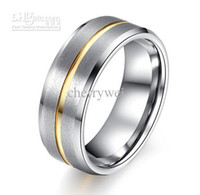 Wholesale Hot Selling Tungsten Carbide Ring With K Gold Plated Striped Groove on the Center Mens Wedding Band Ring Size