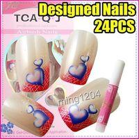 Full Natural Tips Square  Nail Tips Wholesale-MN-Best Selling Freeshipping 24pcs set Nail Art heart French False Tips + Glue C217