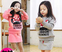 Girl Spring / Autumn Long 2014 new children clothing for girls suit Mickey Mouse Minnie sweatshirt + skirt = sets Kids clothes