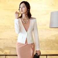 Women Blazer Short Free Shipping 2014 Spring New Fashion Style Women Business Suit Jackets black white One Button Blazers A178