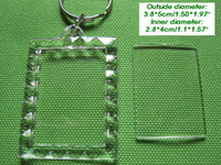Acrylic acrylic keyring blanks - free ship acrylic blank photo keychain frame keyring Rectangular lace shape size3 cm diy yourself photo keychain