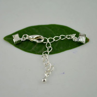 findings - DIY Sets Silver Plated Adjustable Crimps Tone Round Fold Over Cord Ends Cap Cords With Lobster Clasp Finding