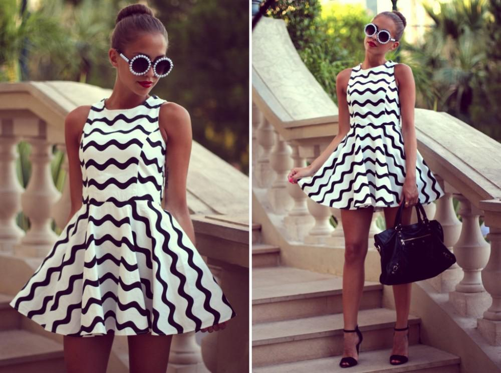 Retro Black White Zigzag Chevron Skater Dress Celeb Summer Short ...