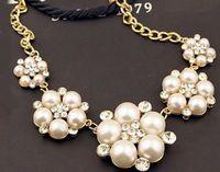 Wholesale Full diamond pearl big petals dinner ornaments short clavicular Necklace JTL N002JZT