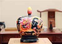 Wholesale Chinese style retro handmade ceramic crafts Matt glaze Auspicious jar ANTIQUE GIFFS