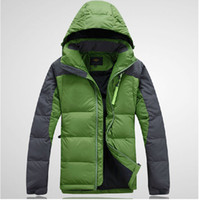 Wholesale 2015 New Men Brand Natural Down Coat male thick feather padded outdoor jacket man hooded warm primaloft outwear