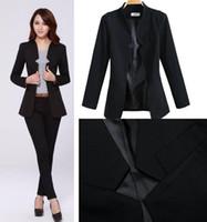 Women Blazer Short 2014 Fashion Business Suits For Office Ladies black color Formal Suits for women ladies Slim Career blazer Pants Suits set J0876