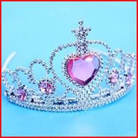 Hair Sticks Plastic+Acryl diamond Floral 2014 new girls frozen tiara dress Elsa Anna princess crowns hearts diamond tiara baby party hair accessories pageant hairbands gift 20pcs