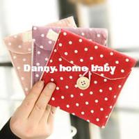 Storage Bags JOVE Eco-Friendly,Folding Free Shipping women Dots Print Sanitary Napkin Pocket Case Holder Purse Wallet Bag Handbag Pouch XW10