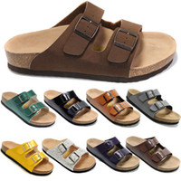 Men Wedge Genuine Leather Free Shipping Fashion Birkenstock Men Flat Sandals Platform, Cheap Summer Slippers Home, Casual Beach Sandals 100% High Quality