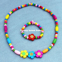Jewelry Sets Fashion 1 necklace&1 bracelet Fashion Jewelry Children's necklace and bracelet, Kid baby jewelry set, girls cute gift,candy colour Flower wood bead necklace