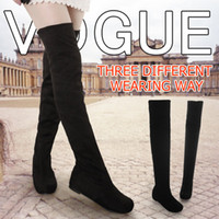 Wholesale Women boots autumn winter ladies fashion flat bottom boots shoes over the knee thigh high suede long boots brand designer