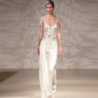 Sheath/Column deco - 2014 Jenny Packham Eden Style Wedding Gowns Sheath Open Back with Beaded Ovelay Art Deco Wedding Dresses Elegant Sneath Tea Party Dresses