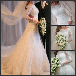 Wholesale 2014 vestido de noiva Sexy Sheer Long Sleeves A Line Lace Wedding Dresses Tulle Applique Beach Garden Bridal Gowns With Beaded