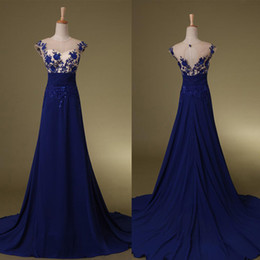 2020 Zuhair Murad prom dress Royal Blue Chiffon Gown Sheer Neck Floor-length Backless Evening Dresses with Appliques