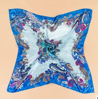 Wholesale color cm large square flower silk scarf