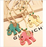 Pendant Necklaces Women's Fashion Fashion Animal Lucky Elephant Jade Beaded Long Sweater Necklace 18KGP Ethnic Jewelry 2013