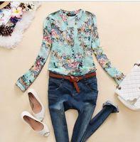 Cheap New 2014 V-Neck Chiffon Blouse Women Long Sleeve Flower Print Shirt Women Clothing Blusas Femininas Dudalina Drop Shipping