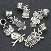 dangle charms - New Antique Silver Assorted Owl Dangle Big Hole Beads Fit European Charm Bracelet ZBH13