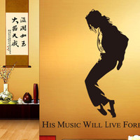 Wholesale Wall Sticker quot Micheal Jackson His Music Will Live Forever quot Removable Wall Decal Loving Gift for fans Home Decoration Wall Covering Gift