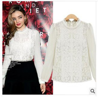 Stand Collar Flare/Bell Sleeve Long Sleeve 2014 New European Fashion Women Shirts Blusas Femininas Lace Hollow Out Long Sleeve Women Blouses Elegant Woman Work Wear Office Clothes