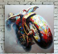 Ручная роспись Top Grade Мотоцикл живописи на холсте Autobicycle Oil Wall Art для украшения дома в гостиной и спальней 1шт
