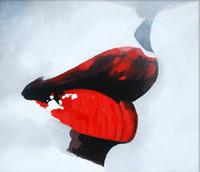 Ручная роспись площади Sexy Red Lips Картина Красивый рот Краски художественные украшения для дома в гостиной и спальней 1шт
