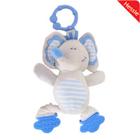 Wholesale MN Hessie Brand Baby Toy Multifunctional Baby Boy Rattles Toy With Blue Elephant BB Device And Silicone Teether Free Shiping