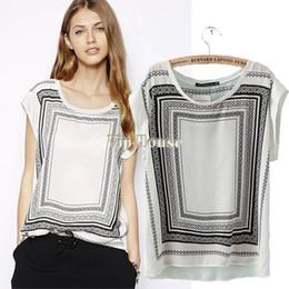 European Style 2014 Summer women blouse Sexy Elegant Vintage blouse O-neck Geometric Printed Chiffon shirt #10 SV004535