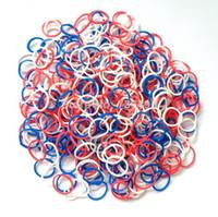 Fashion Bracelets 1.8cm DIY 45-New DIY bracelet rubber loom bands (600bands+ 24 S-Clips each pack) Loom Bands Refills (red+white+blue)