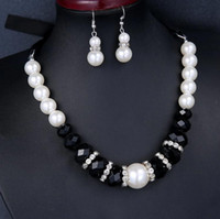 Wholesale Faux Pearl Necklace set earrings black bead rope necklace Choker statement necklaces jewelry set
