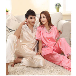 Wholesale 2014fallSpring lovers silk long sleeved silk pajamas men and ladies short sleeve men suit tracksuit