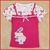 Wholesale 2014 cute summer little girls cartoon tops cartoon Ben and Hollys Little Kingdom applique in floral t shirt nova baby clothes in stock