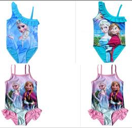 Wholesale 3 color Elsa Anna Swimwear one piece Girls Beachwear lace up Swimming Suit LJJA162