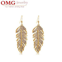Wholesale fashion Brand bridal kGP austrian Crystal rhinestones float floating feather leaf drop Earrings jewelry design style SKU B010