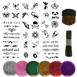 Wholesale PS085 Mixed Design Stencils Body Art Painting Glitter Temporay Tattoo Kit DIY Party Boy Girl stencils glitters brushes