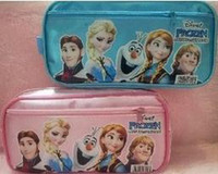 Backpacks PVC Men Wholesale - Free shipping Stock Hot sale 2014 Frozen princess Elsa anna Pencil case Bag Red NEW Children Girl's Cartoon Fashion Pencil Bag